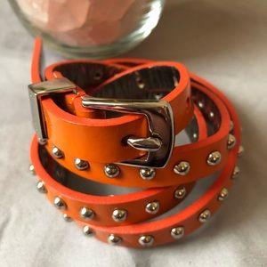 "Michael Kors Studded Orange Belt L 37"""